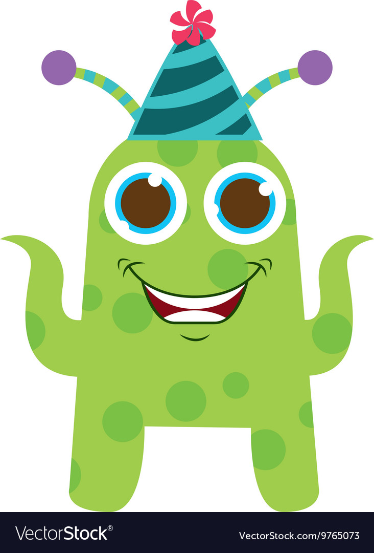 Monster cartoon with party hat isolated icon vector