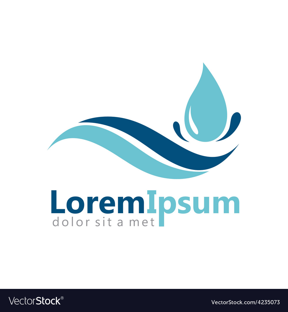 Pure water drop abstract logo vector