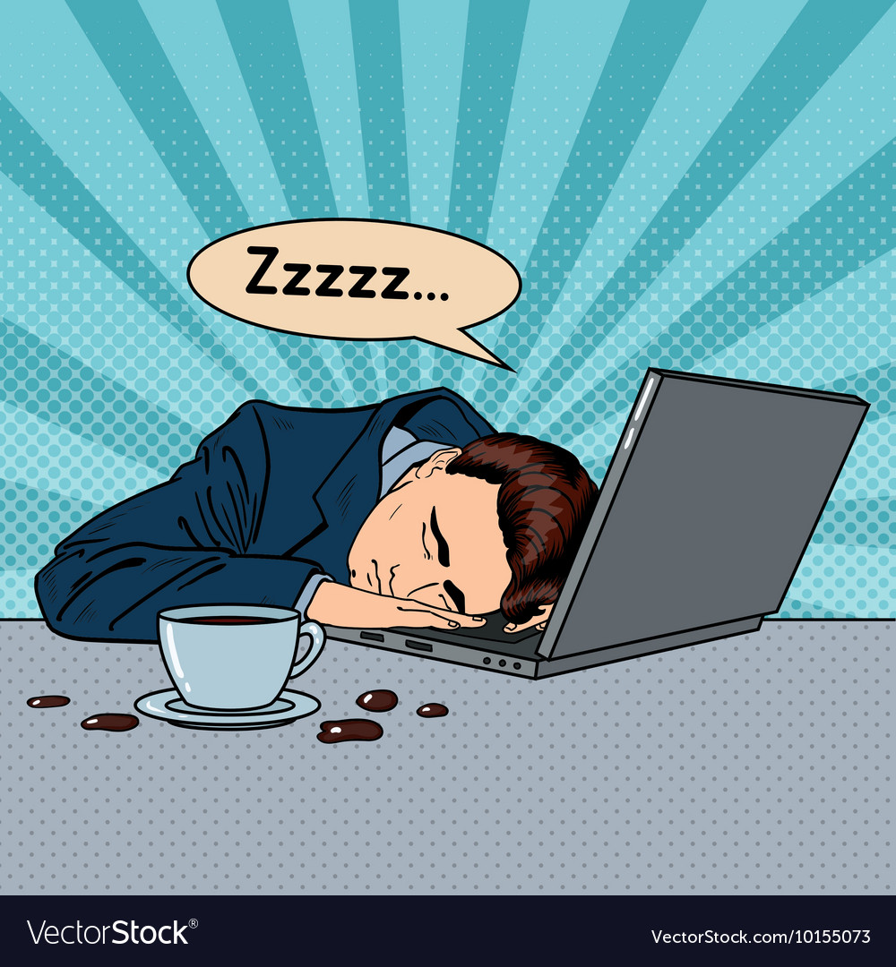 Tired businessman sleeping on a laptop pop art vector
