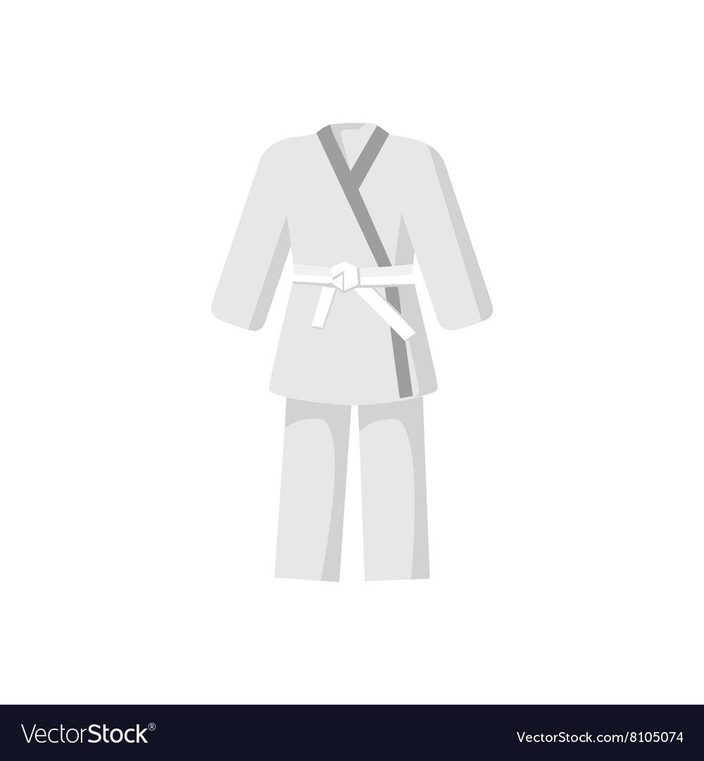 Kimono with martial arts white belt icon vector