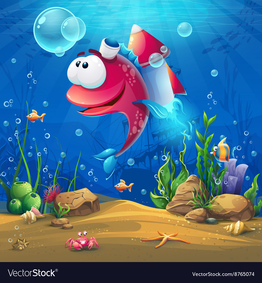 Underwater world with funny fish background vector