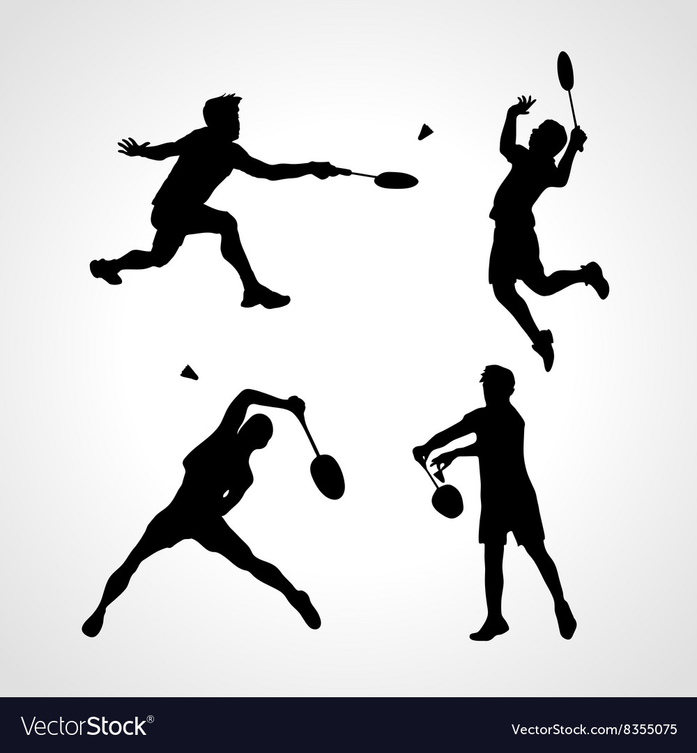 Badminton players silhouettes set vector