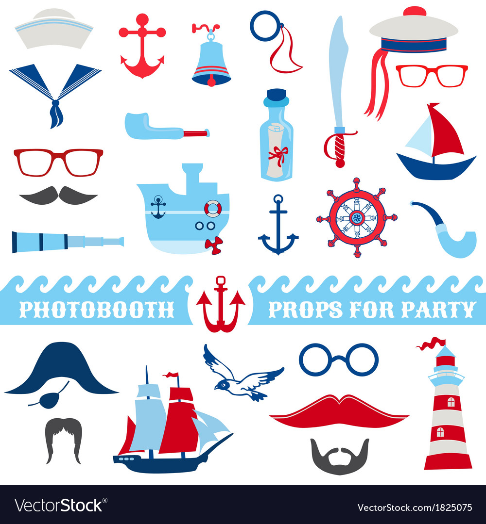 Nautical party set  photobooth props vector