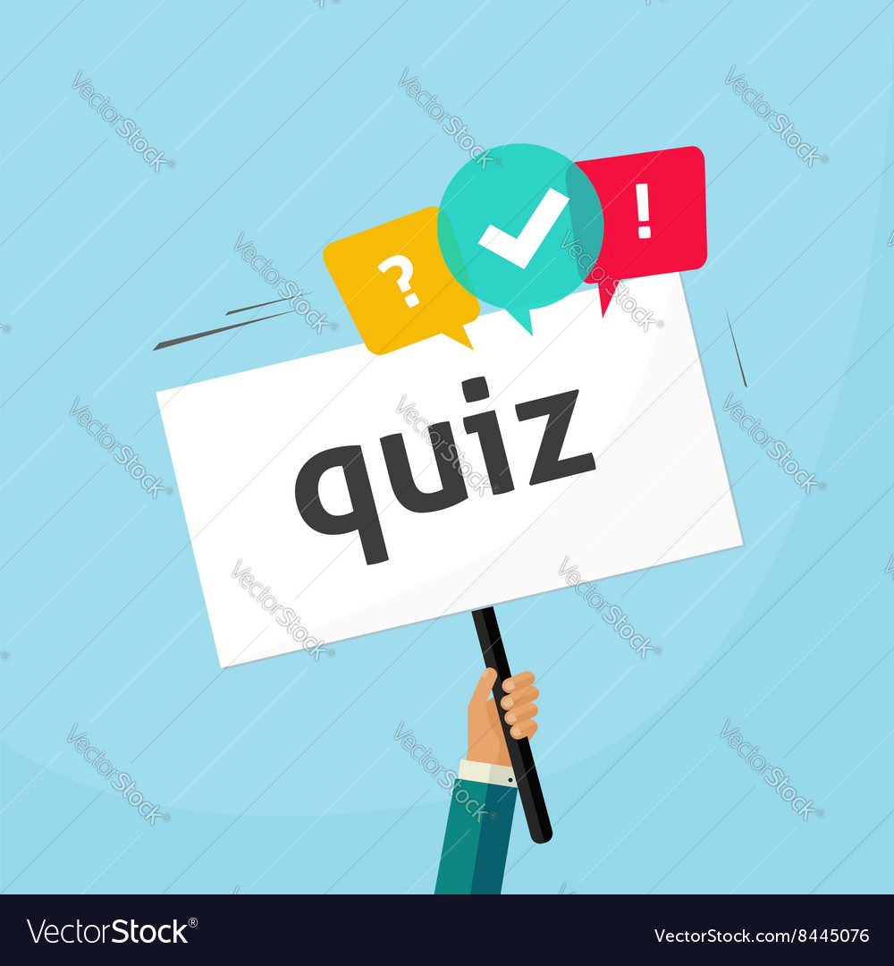 Hand holding placard with quiz text and speech vector