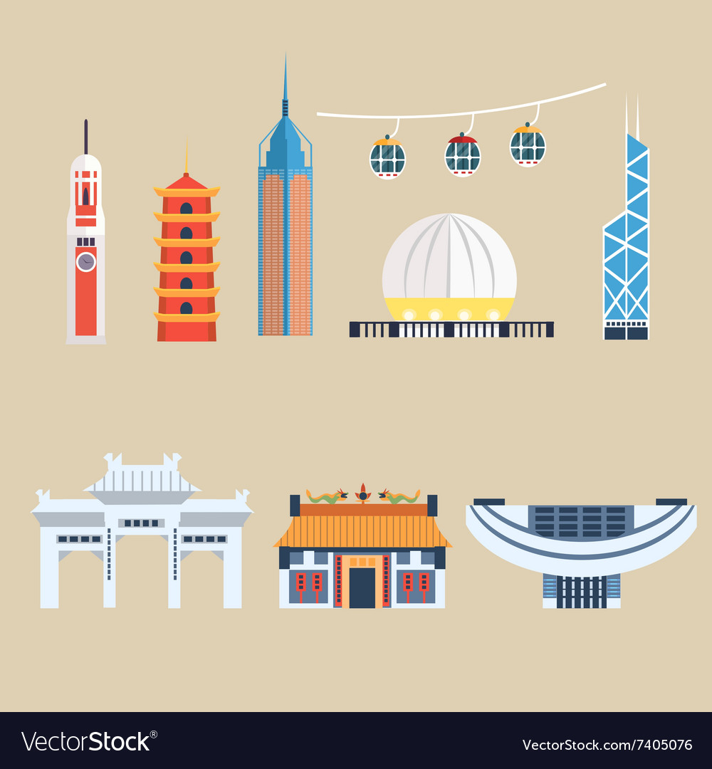 Modern chinese buildings hong kong travel vector