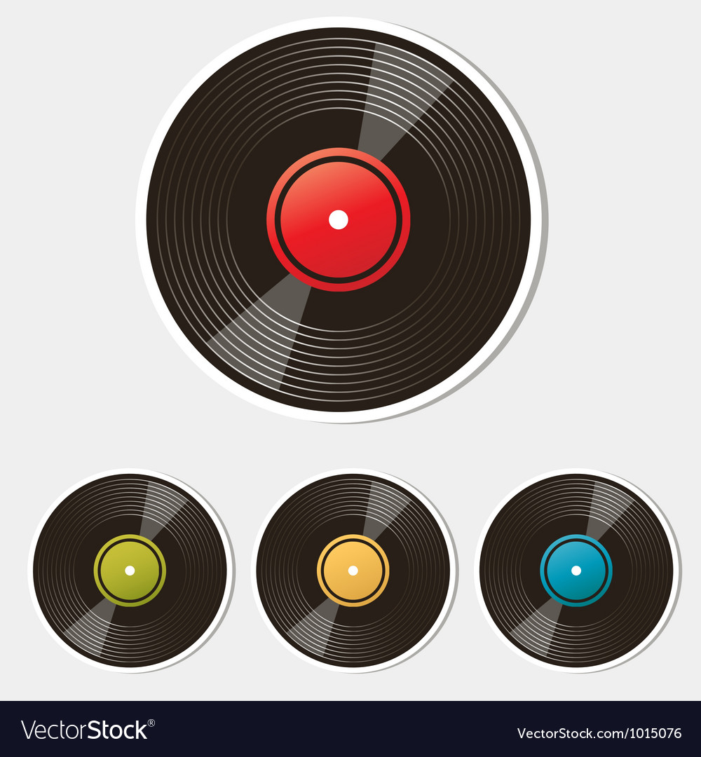 Set of vinyl records isolated on white vector