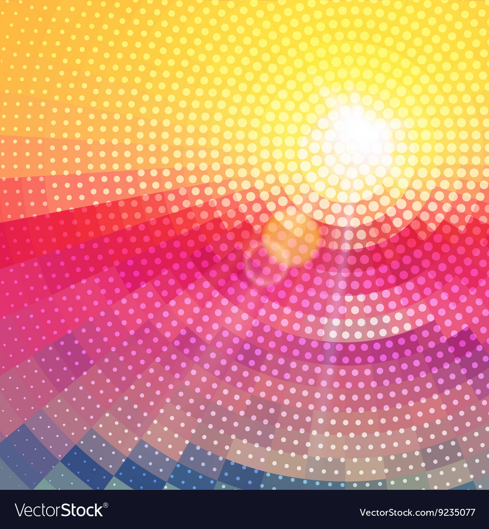 Abstract radial colorful sunset technology vector
