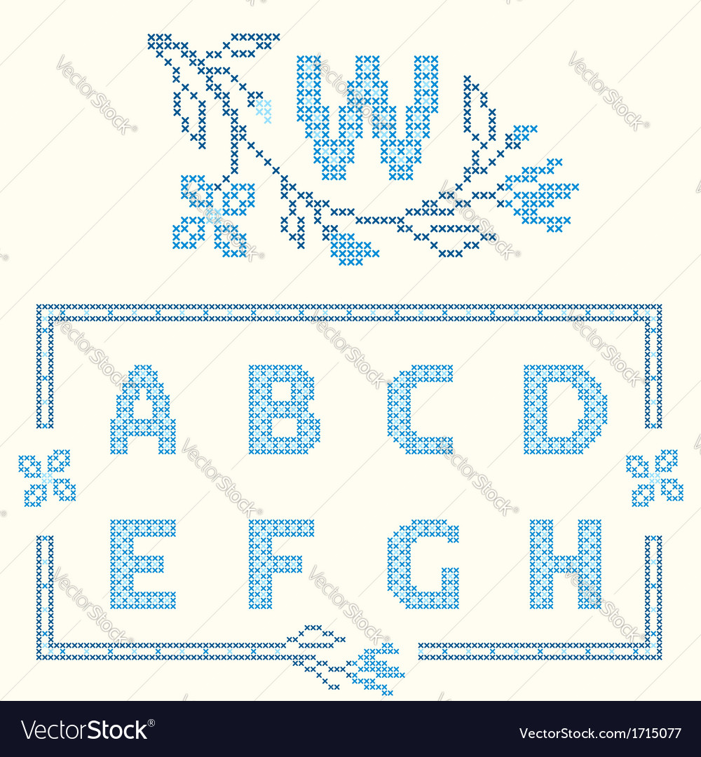 Design elements for crossstitch embroidery vector