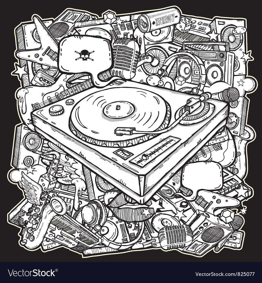 Music mix background vector