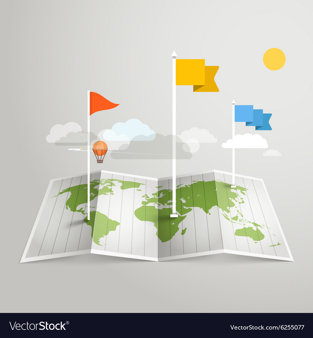 World map with different marks design elements vector