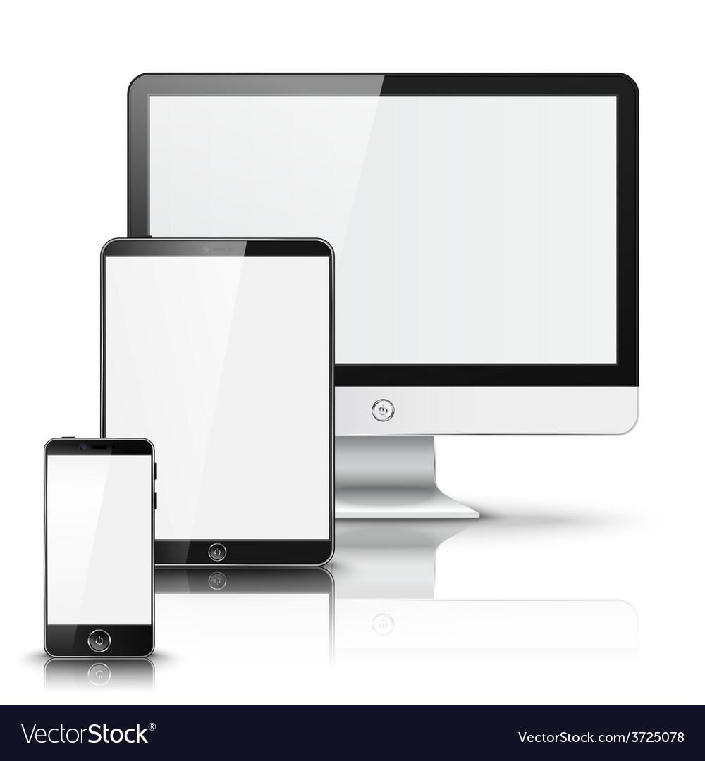 Set of all size screen devices for site preview vector
