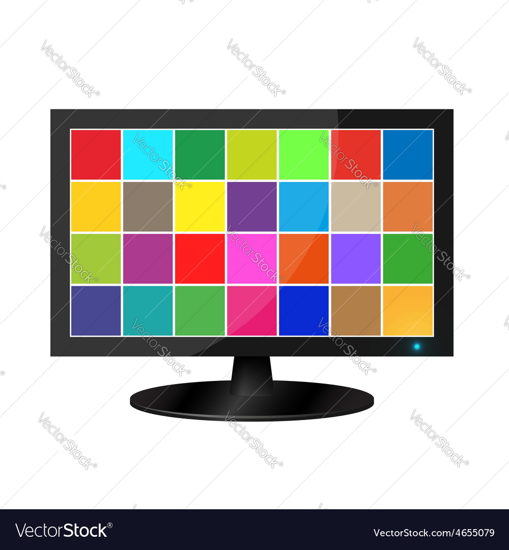 Realistic lcd monitor with colored squares vector