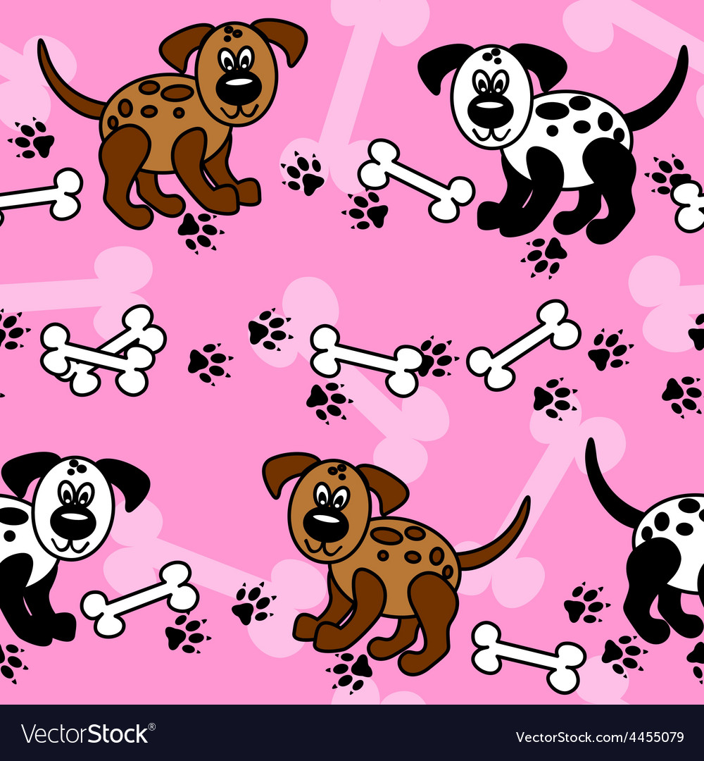 Seamless dogs and bones borders over pink vector