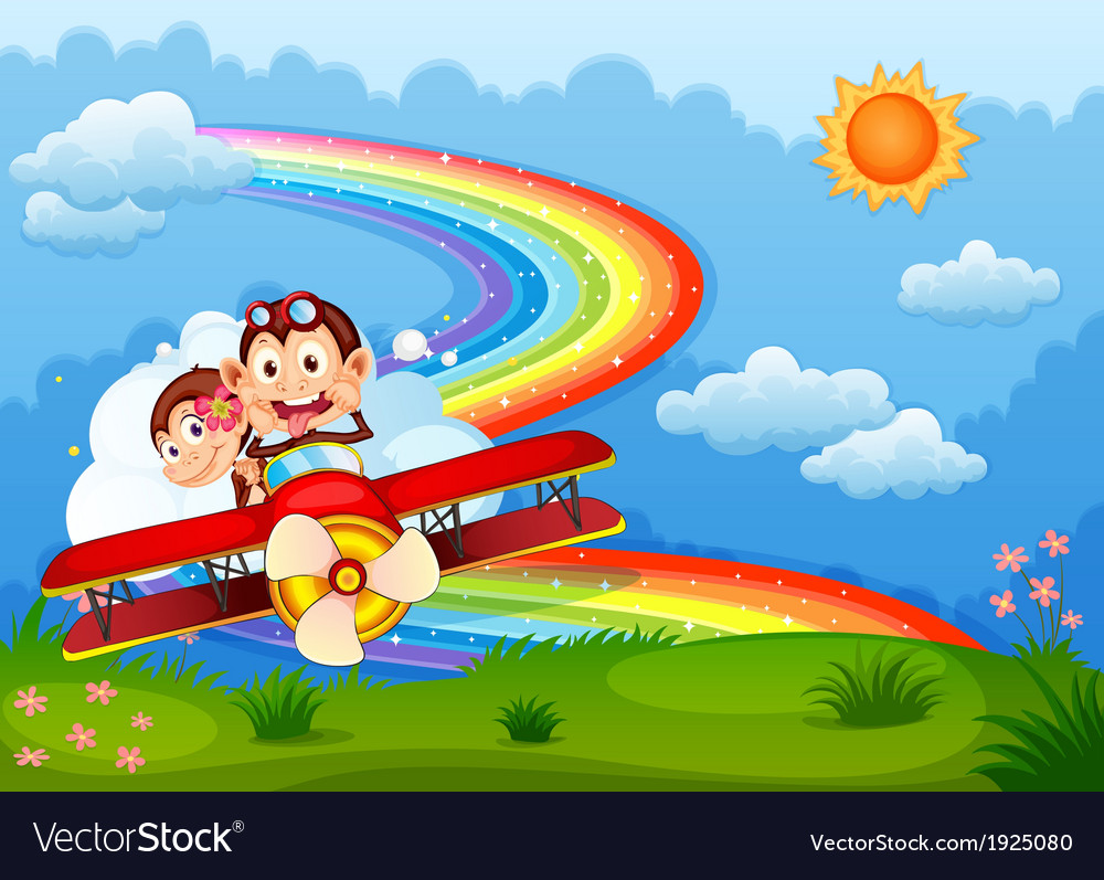 A plane with two boastful monkeys and a rainbow in vector