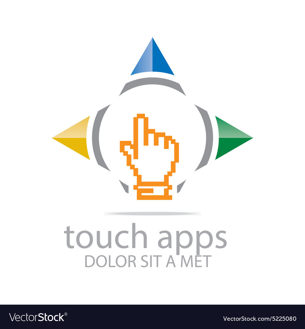 Logo icon touch screen app hand circle symbol vector