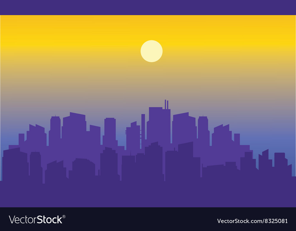 Beautiful city of silhouette vector