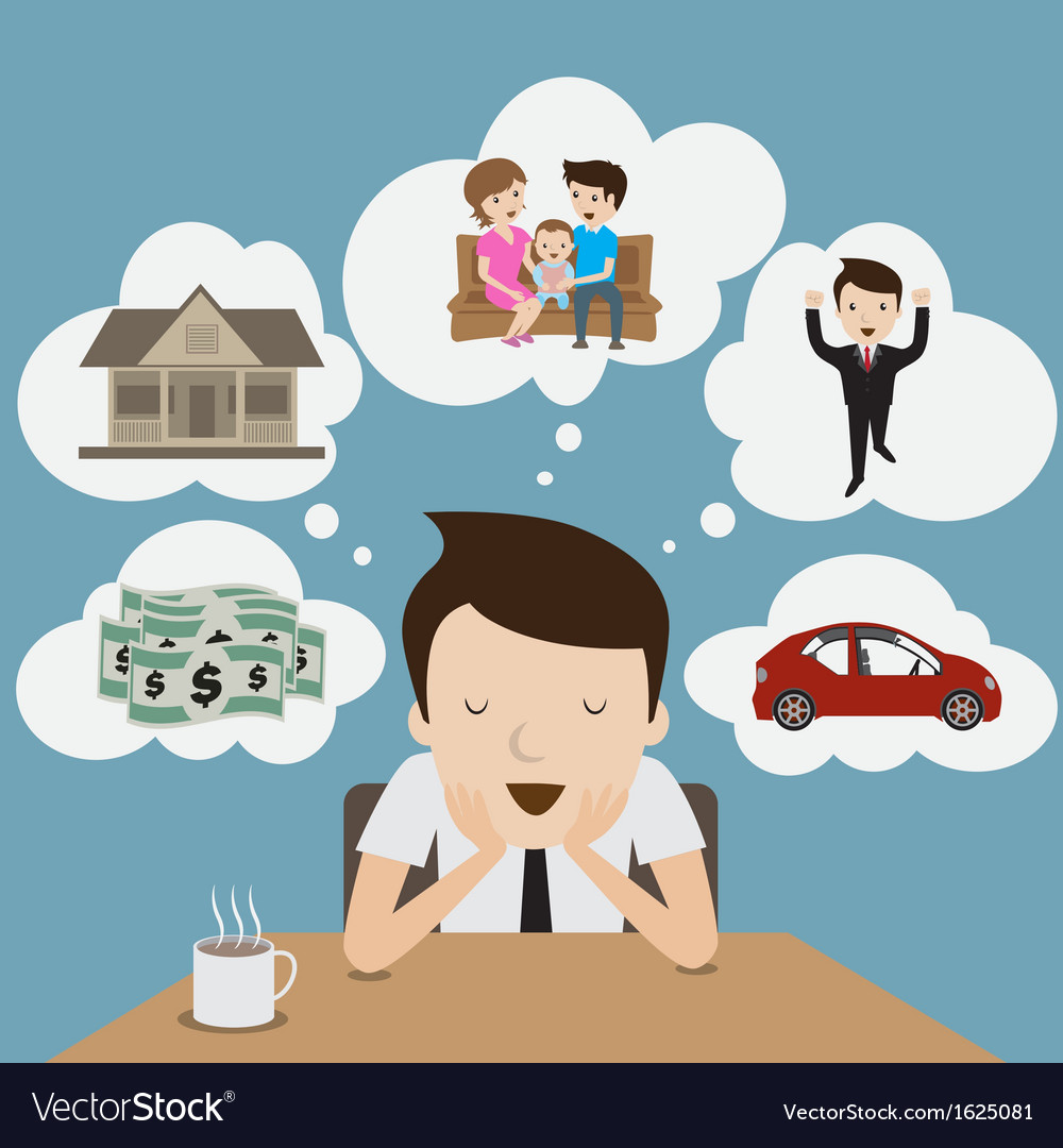 Dream and vision of businessman vector