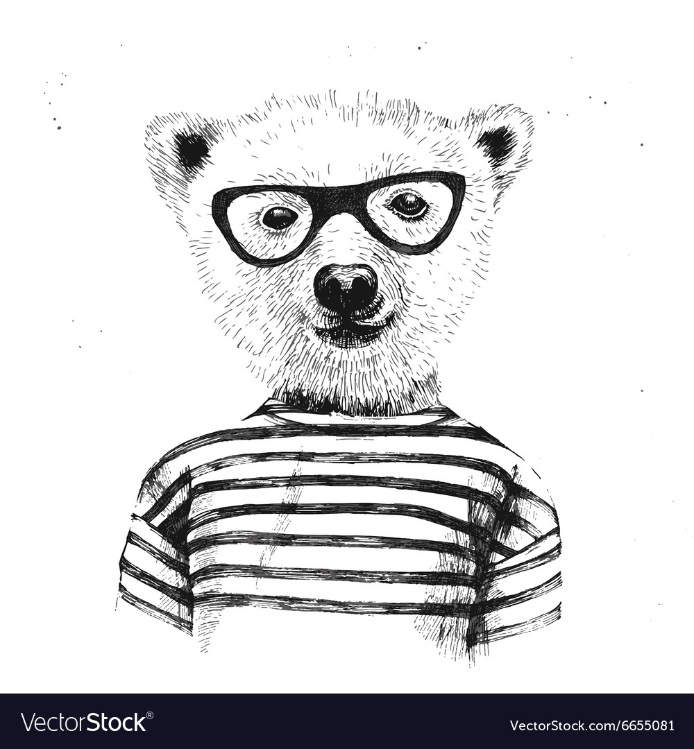 Hand drawn of dressed up hipster bear vector