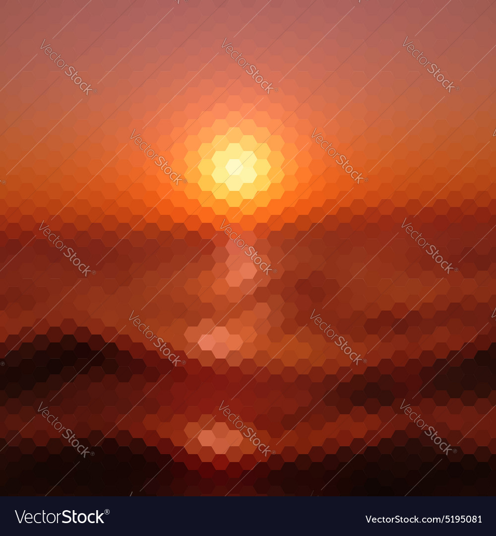Retro sunset pattern of geometric shapes vector