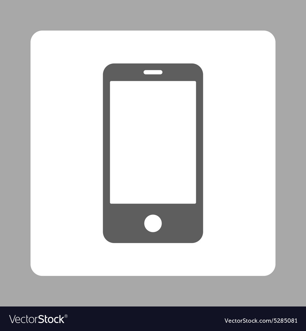 Smartphone flat dark gray and white colors rounded vector