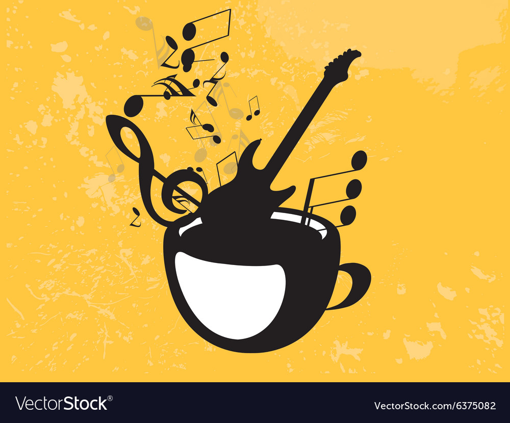 Abstract music background with notes and coffee vector