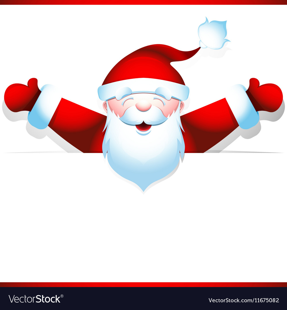 Joyous santa claus with blank banner vector