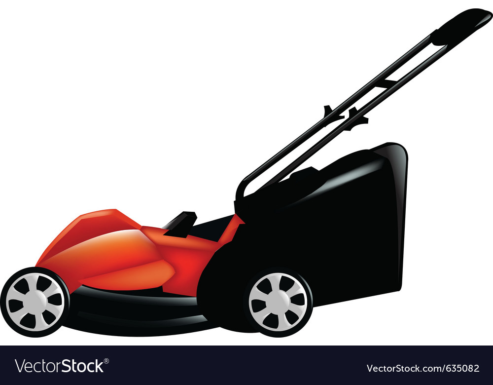 Red lawn mower vector