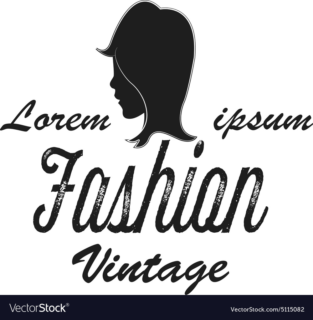 Shop logo fashion girl vintage vector