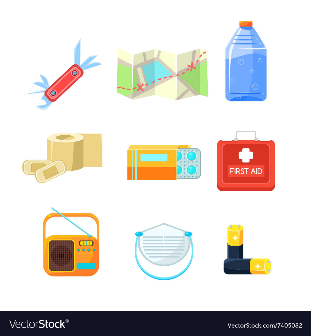 Survival emergency kit for evacuation items vector