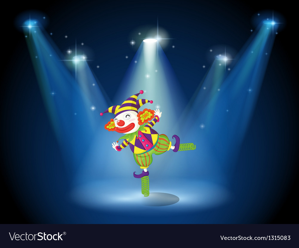 A stage with a playful clown vector