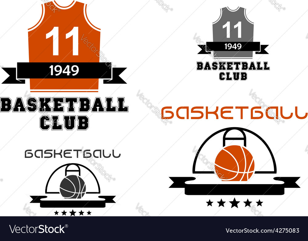 Basketball emblems with court ball jersey vector