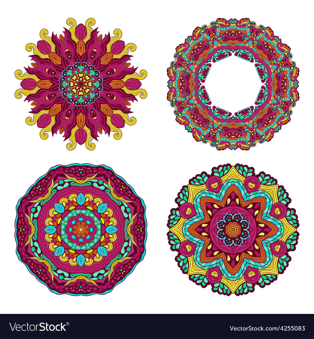 Colorful round floral design elements vector