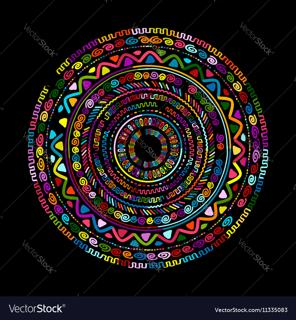 Round ornament design ethnic mandala vector