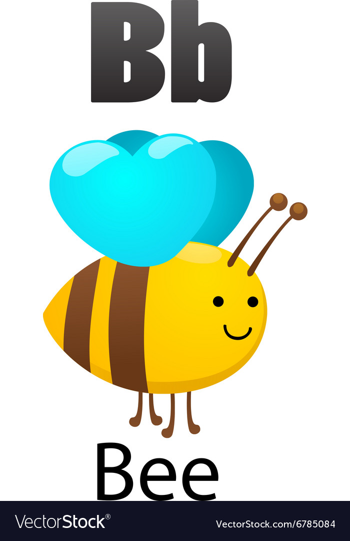 Alphabet b with bee vector