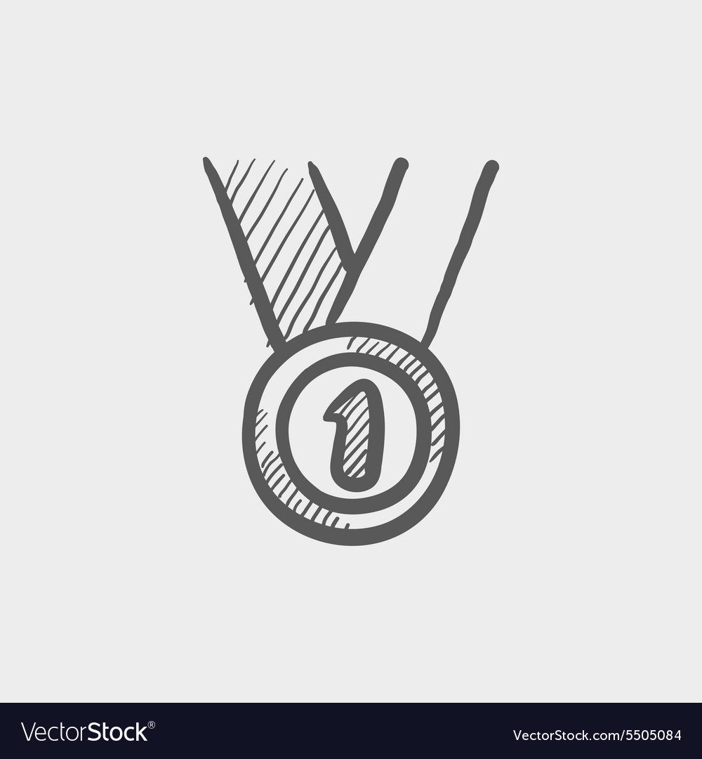 First place medal sketch icon vector