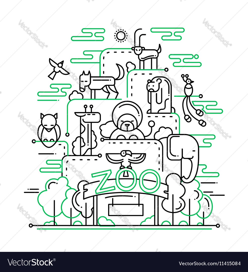 Zoo  line design vector