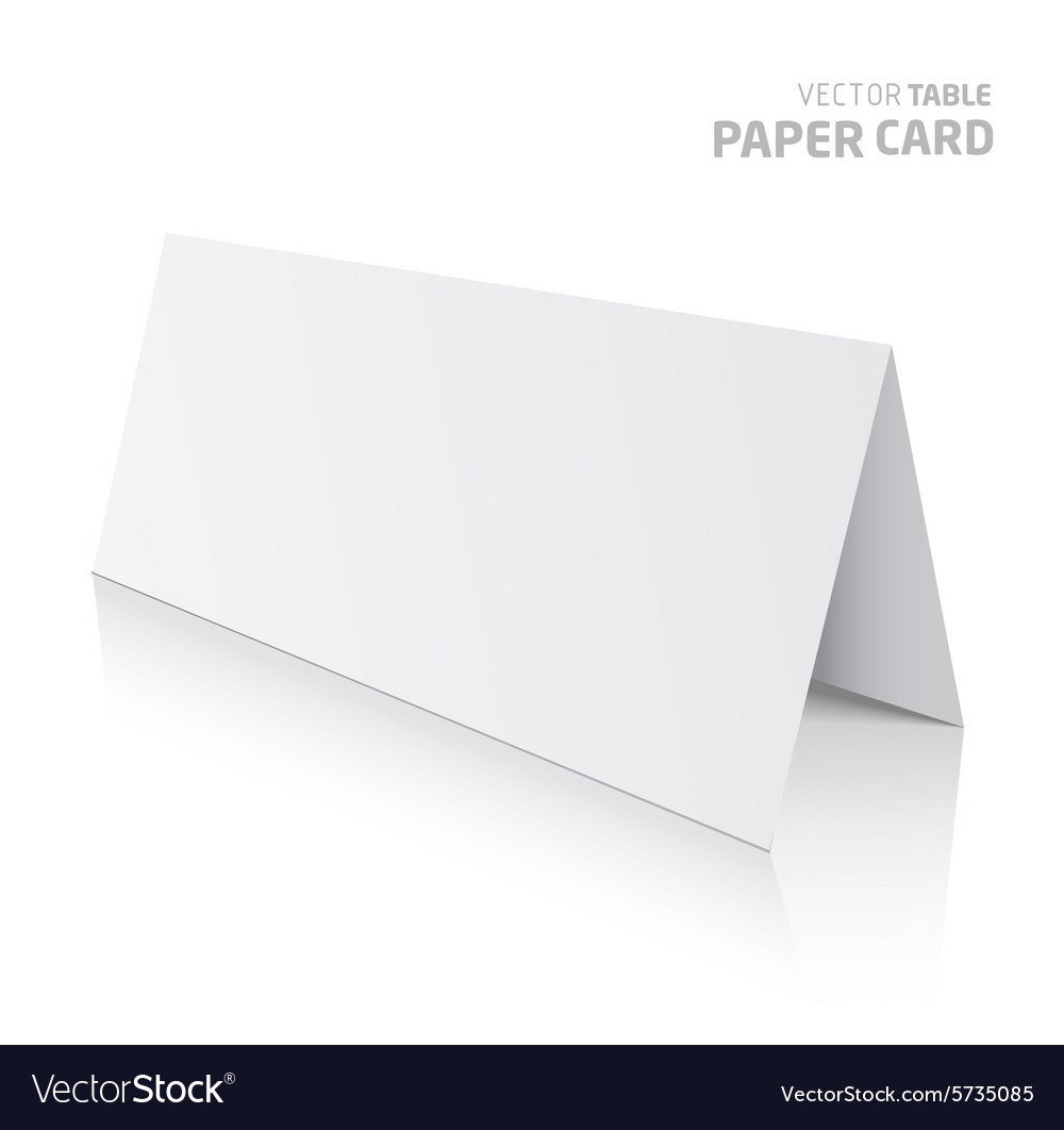 3d table paper card isolated on a grey background vector