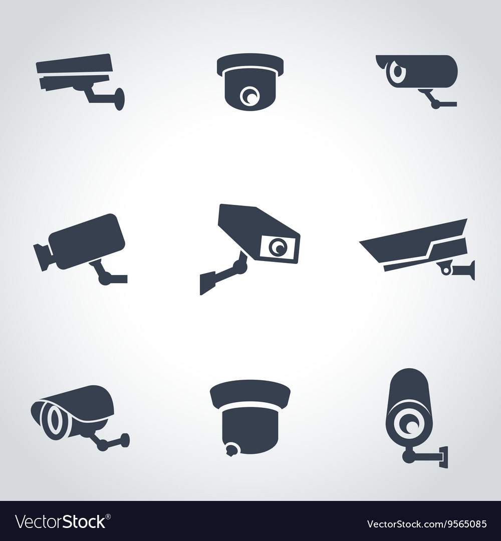 Black security camera icon set vector