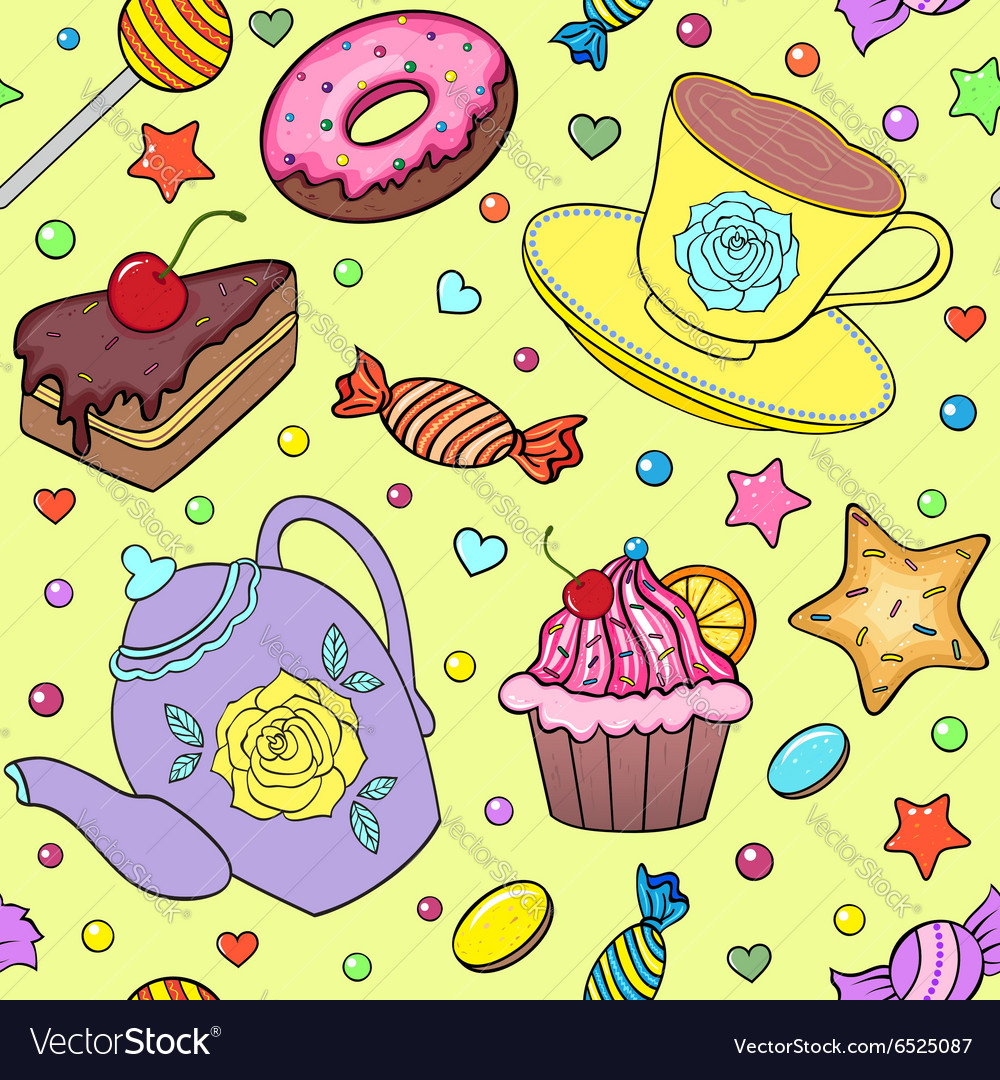 Sweets teapot and cup vector