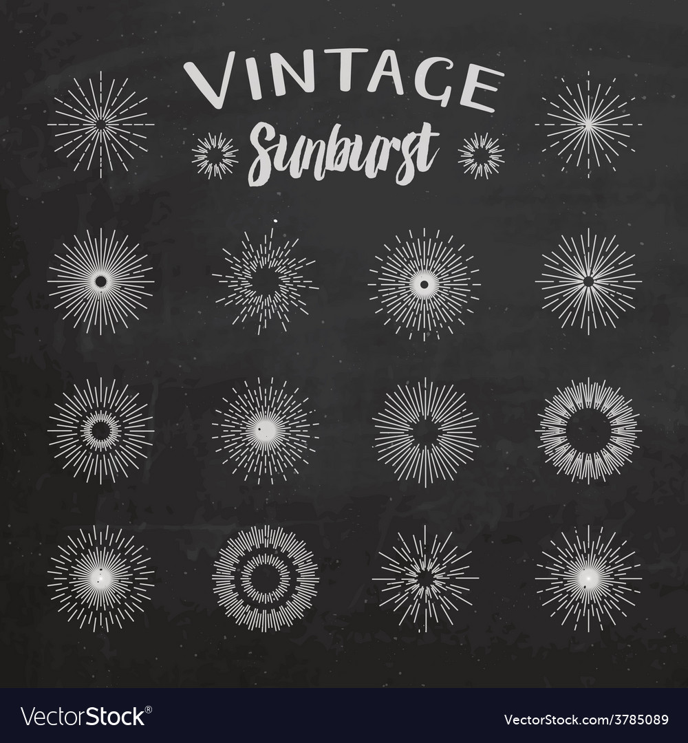 Vintage sunburst on chalkboard background vector