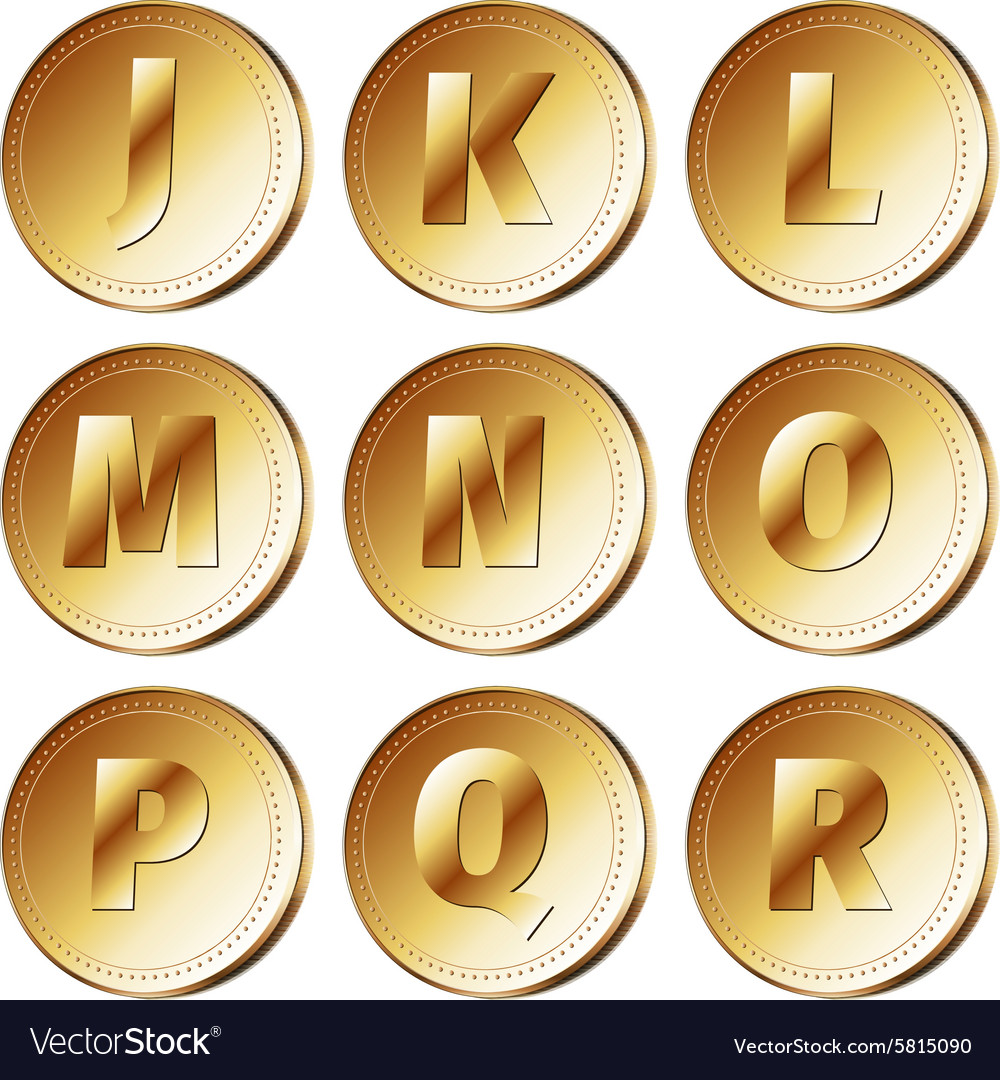 Coins with letters  part 2 vector