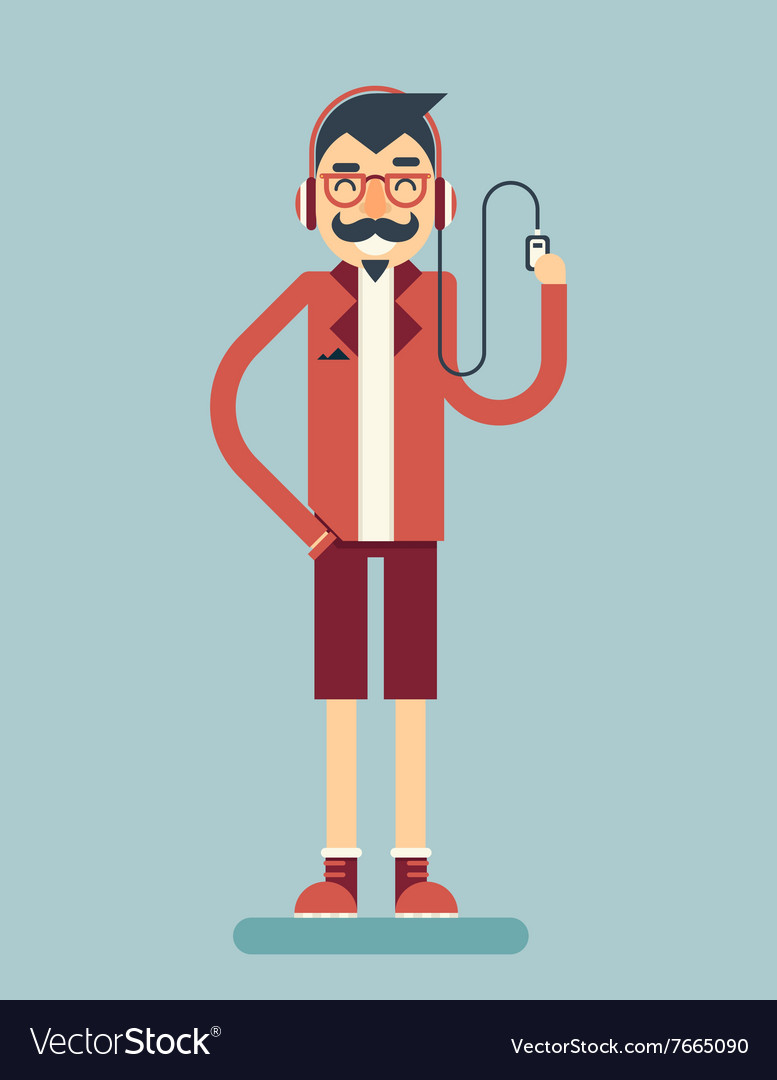 Happy smiling adult man geek hipster character vector