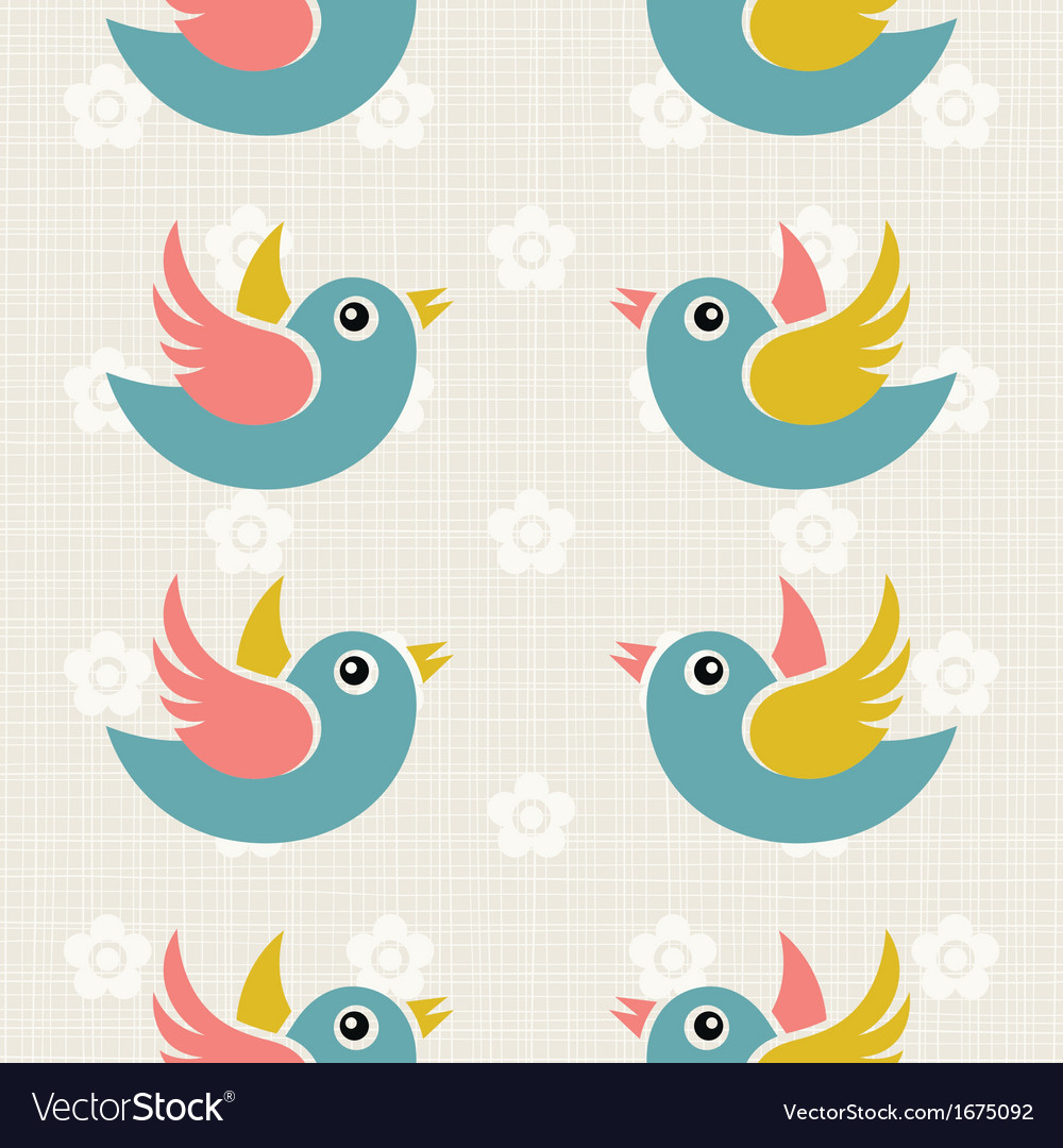 Fabric background with cute birds vector