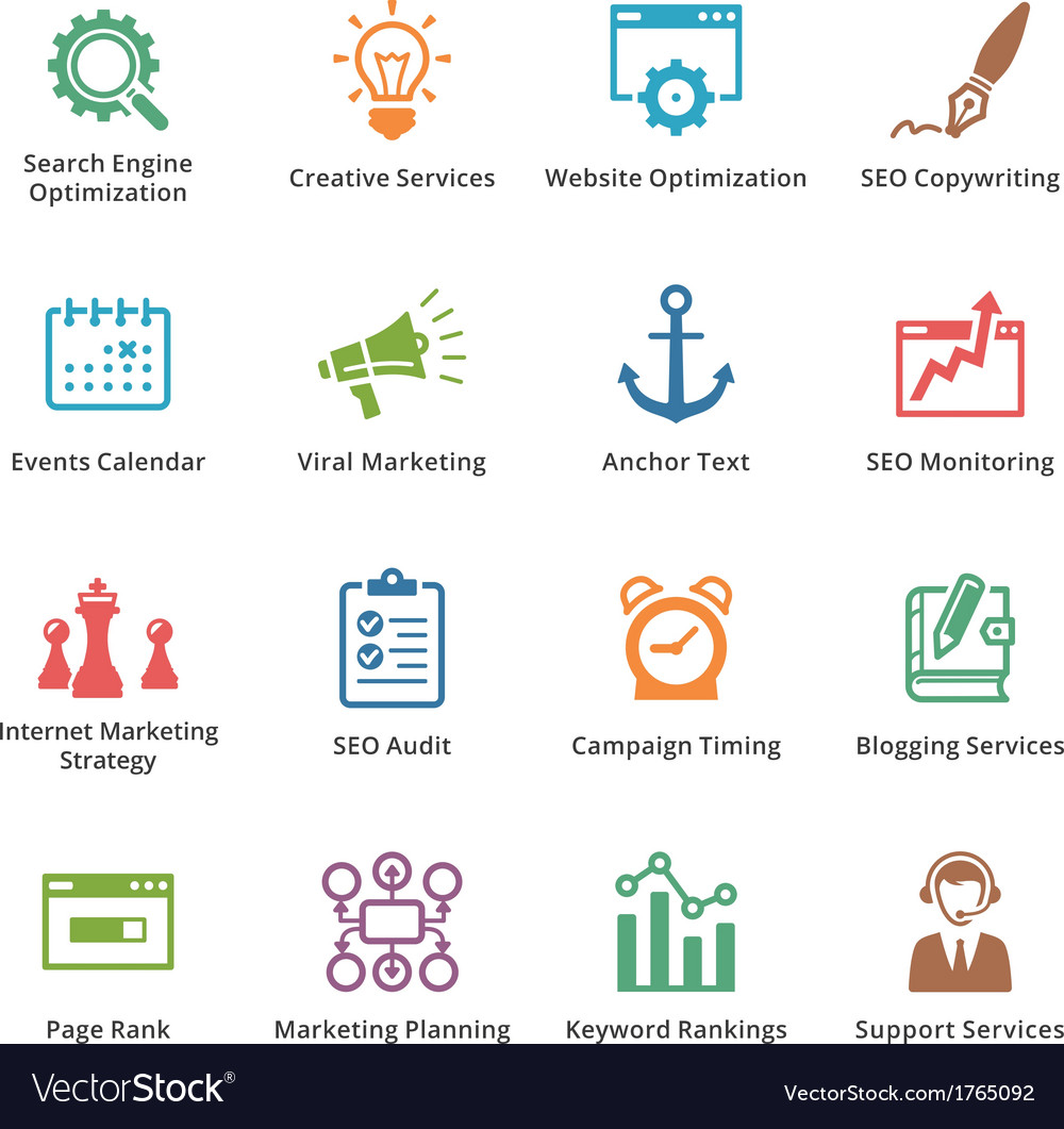 Seo and internet marketing colored icons set 5 vector