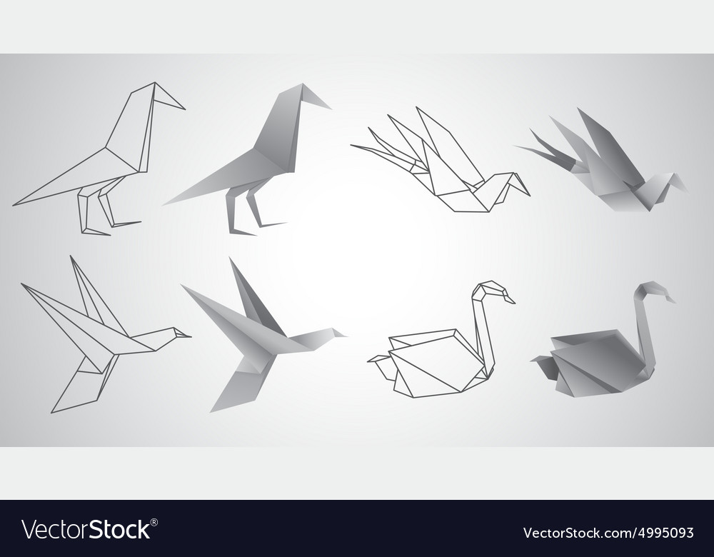 Birds origami set vector