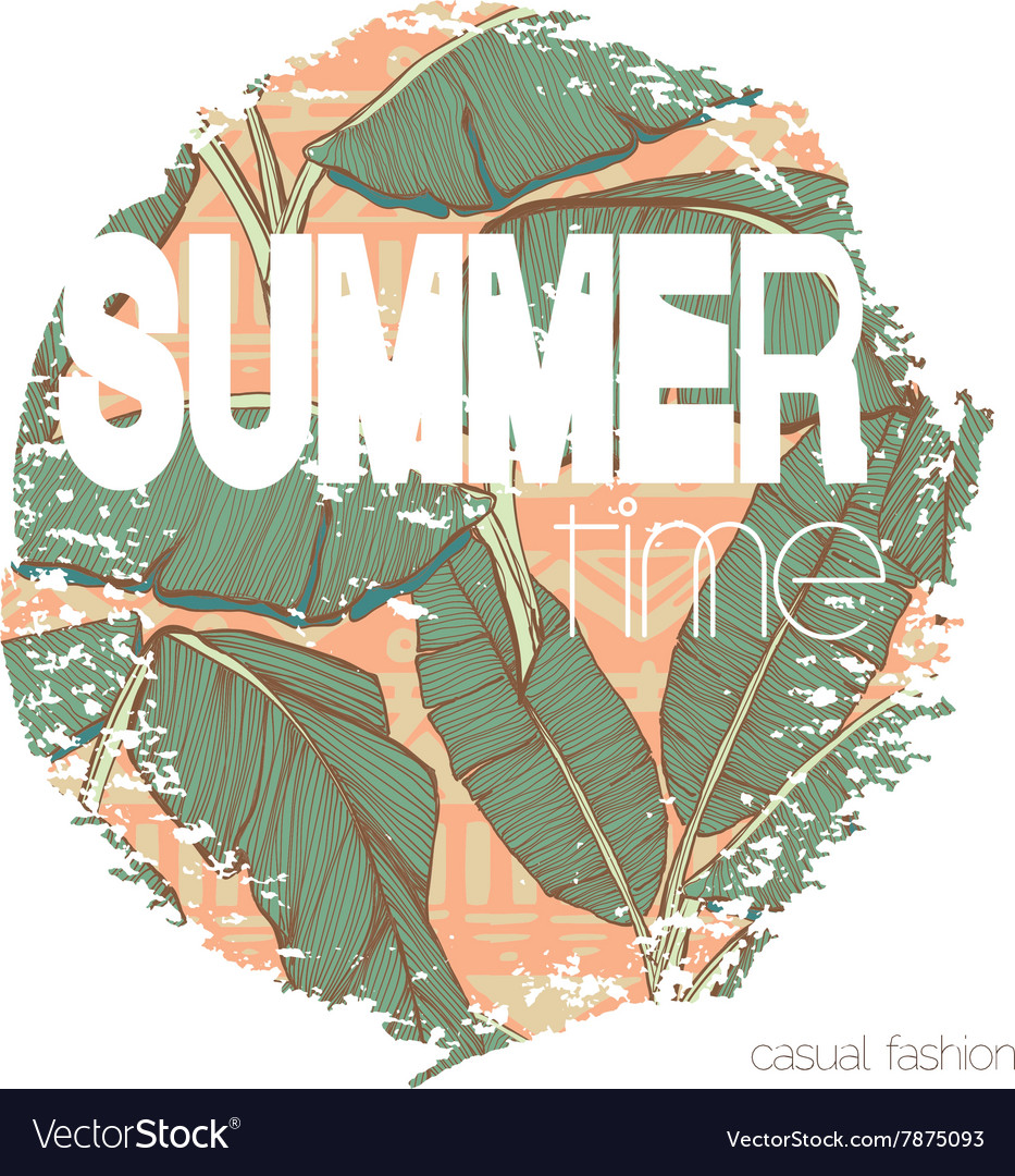 Vintage tropical exotic summer print for tshirt vector