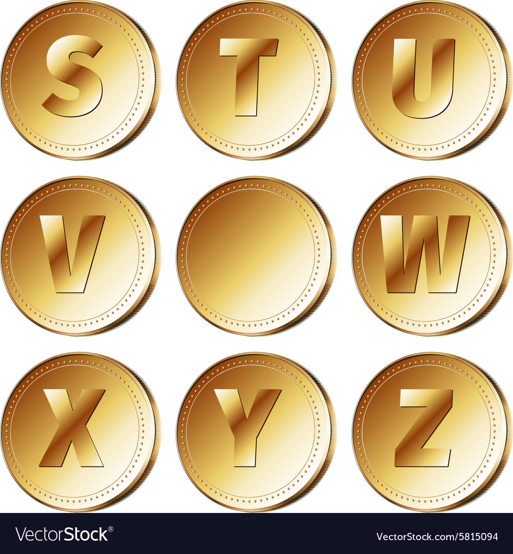 Coins with letters  part 3 vector