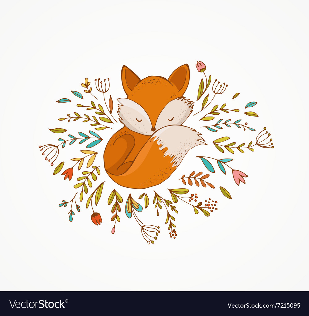 Fox sleeping on the flowers  vector