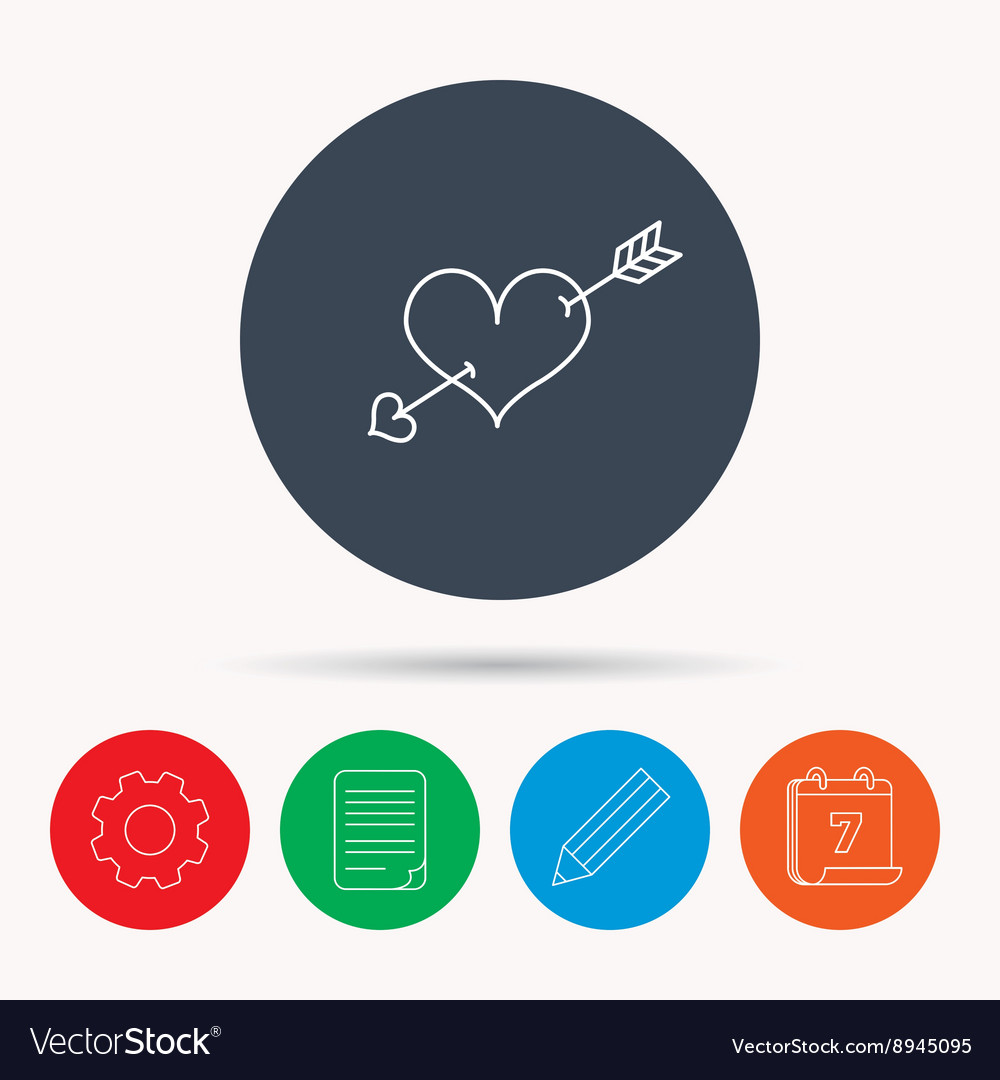 Love heart icon amour arrow sign vector