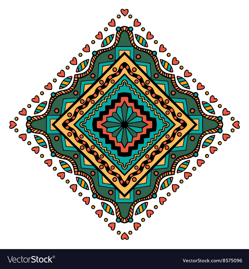 Mandala square ornament vector